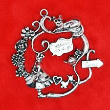 2 x tibétain argent large alice au pays des merveilles charme pendentif trouver making