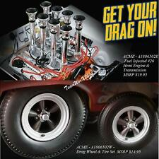 ACME FUEL INJECTED 426 HEMI ENGINE & DREAG WHEEL AND TIRE SET 1:18 NEW!