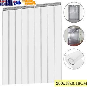 Cool Room PVC Plastic Door Strips Curtain 2000x180x1.8mm Strip Kit Hanging Rail