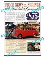 OLD LARGE HISTORIC ADVERTISING POSTER, STUDEBAKER COMMANDER MOTOR CAR c1940s