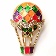 Colorful Hot Air Balloon Red Green Purple Gold Sparkle Crystal Brooch Pin Gift