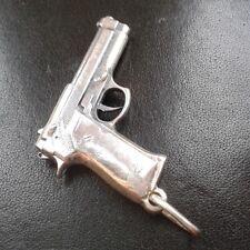 BERETTA PISTOL GUN STERLING 925 SILVER MENS PENDANT CHARM NECKLACE
