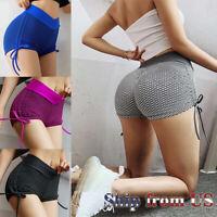 Womens Push Up High Waist Dots Print Yoga Shorts Sports Casual Gym Workout Pants