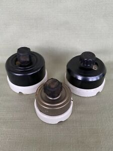 3 Assorted Rotary Round Light Switches Porcelain Base,  Vintage