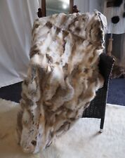 Rabbit Fur Throw/Bedspread - Soft & Warm Natural Brown & White - 1500mm x 1000mm