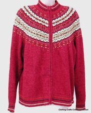 Fair Isle Nordic Cardigan Ski Sweater Womens Large Burgundy Mottled Pattern