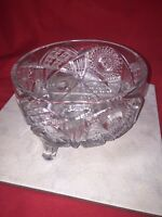 Footed Cut Glass Bowl 7 1/2""