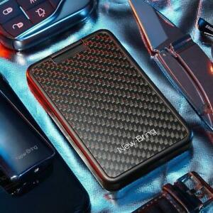Mens Carbon Fiber Credit Card Holder RFID Blocking Slim Wallet Money Clip Purse