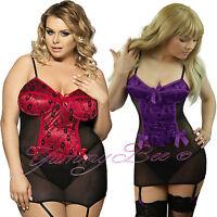 Sexy Lingerie Suspender Satin Lace Chemise Nightwear Babydoll Set Plus Size 8-24