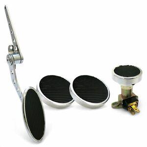 Oval Firewall Mnt Gas Pedal, Round Brake/Clutch/Dimmer Pad   Chromed Billet rod