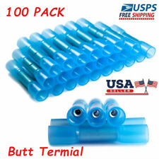 100PCS Waterproof Heat Shrink Wire Connectors 14-16AWG Butt Seal Terminals Blue