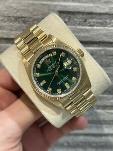 Rolex Daydate 18038 36mm 18k Yellow gold Aftermarket Dial Box & Service card