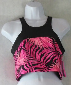 Material Girl Juniors' Sleeveless Cropped Printed Top, Pink/Black, Large L