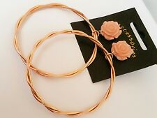 Brand New Large 3 inches Rose Gold Hoop Earrings with Rose Flower Stud Pink Boho