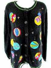 Bobbie Brooks Ugly Christmas Sweater Cardigan Size L Large 12 14 Ornaments Beads