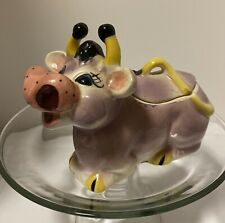 Vintage Purple Pink & White Cow Creamer Pitcher, Yellow Horns