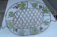 """Wine Grape Design Metal 22"""" Oval Serving Tray Carrier"""