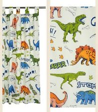"DINO BEDROOM TABTOP LINED CURTAINS DINOSAUR BLUE/GREEN/RED 66x54"" KIDS☆🐊🐊"
