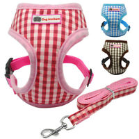 Plaid Small Dog Harness and Lead Set Pet Vest for Chihuahua Yorkie Poodle Pug