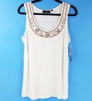 Elementz Womens Sleeveless Tank Top Embellished Beads Floral White 1X 2X 3X NEW