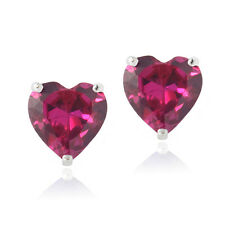 Sterling Silver Created Pink Sapphire 7mm Heart Stud Earrings