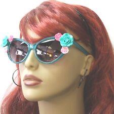 Sunglasses Flower Cat Eye Retro Vintage Style Rose Fashion Dark Green Gray