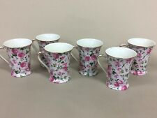Pink Roses and Ivy chintz 6 Cappuccino MUGS Fine Porcelain RUI Design England
