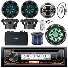 """JVC Bluetooth Marine CD Radio, 6.5"""" LED  Speakers,  10"""" LED Sub and Remote, Amp"""