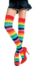 Women Rainbow Thigh-Highs Candy Colors Striped Socks Costume Over Knee Stockings