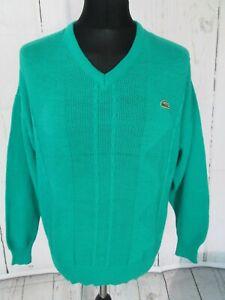 Preloved Mens CHEMISE LACOSTE Jade Green V Neck Cotton Jumper Size Large(w36)