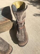 Camper Dark Brown Suede Bright Green Leather Faux Fur Lace Up Mod Boots 42 Sh
