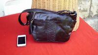 Vtg Original 90s Hotter German Black Genuine Leather Satchel Shoulder Bag...