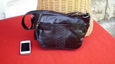 Vtg Original 90s Hotter German Black Genuine Leather Satchel Shoulder Bag...