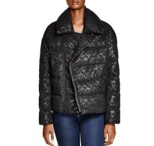 DKNY Black Lace Overlay Puffer Quilted Jacket Size Petite Small NWT $795