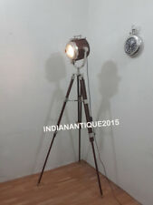 NAUTICAL COLLECTABLE WOODEN SPOT LIGHT STUDIO SEARCHLIGHT BROWN TRIPOD DECOR