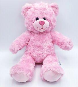 "Build a Bear Pink Teddy Bear Shaggy fur Heart Nose plush stuffed animal 16"" soft"