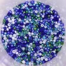 25 g 2 mm Verre Seed Perles-Bleu, Blanc, Vert sea breeze