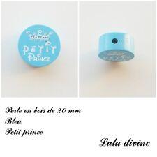 Perle en bois de 20 mm, Perle plate, Petit prince : Bleu