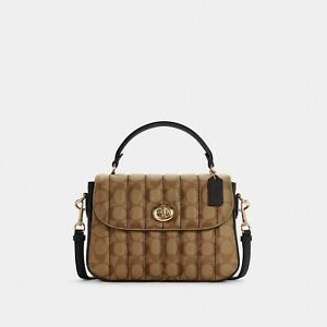 NWT Coach Marlie Top Handle Satchel In Signature Canvas With Quilting