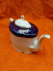 Antique Blue & White with Gold Victorian Bone China Teapot C1890