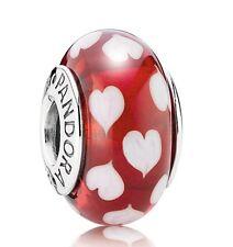 Pandora charm 790948 vetro murano Cuoricini Bianchi originale