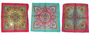 "Wholesale of 3 Ornate Paisley Mosaic Multi Color Cotton Bandana 22x22"" Bandanna"