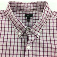 J CREW Mens Shirt size XL Lightweight Purple Small Check Plaid Prep