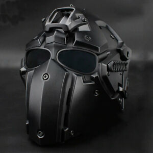 Full Face Tactical Protective Mask Paintball Airsoft Helmet w/ 4 Pairs Goggles