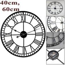 Large Garden Wall Clock Roman Antique Skeleton Vintage Iron Black Decor Gift