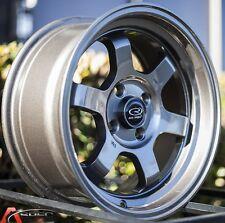 """15X7 +20 ROTA GRID-V BRONZE 4X100 RIM FIT BMW E30 E21 2002 CIVIC SI MIATA 2"""" LIP"""