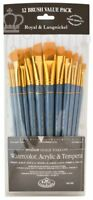 Royal & Langnickel Medium Gold Taklon Paint Brushes Set of 12 RSET-9307