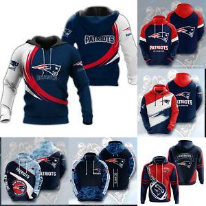 New England Patriots Casual Hoodies Pullover Hooded Jacket Warm Sweatshirt Coat