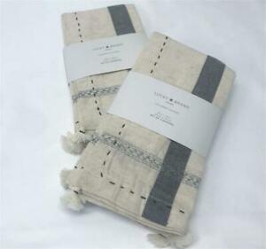Lucky Brand Ivory & Gray Tassel Trim Pick Stitched Set of 4 Napkins Table Linens