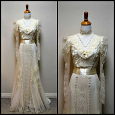 Vintage COUNTRY ELEGANCE Ivory Victorian Steampunk  Downton Abbey Lace Dress XS